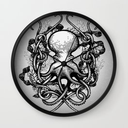 Octupus and COral (Black and White) Wall Clock