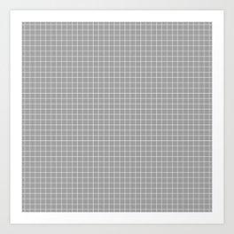 Grey Grid White Line Art Print