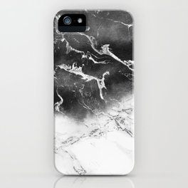 Modern black and white marble ombre watercolor color block iPhone Case