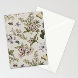 spring flowers with butterfly and beetles II Stationery Cards