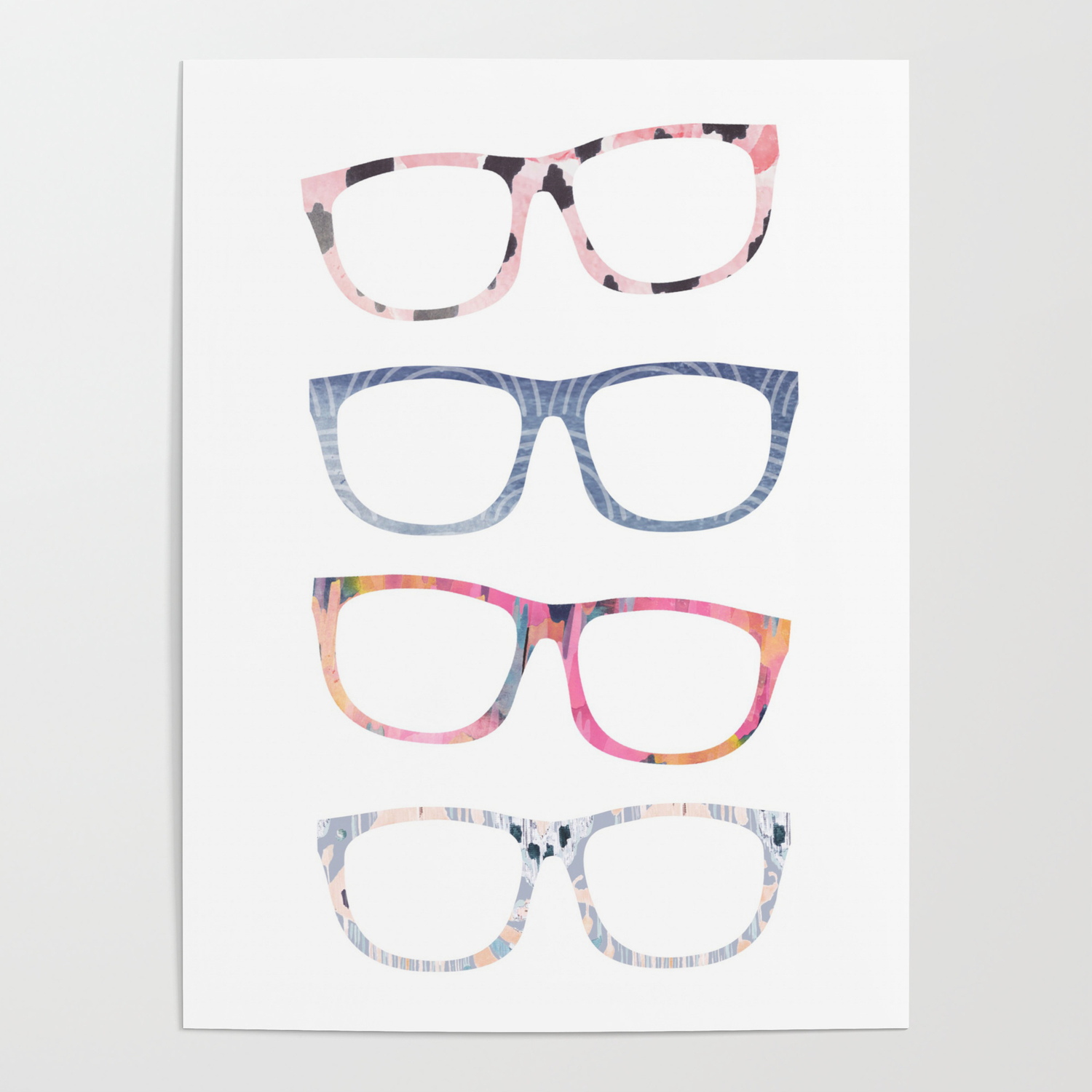 6d3f2168f43 Bespectacled // Watercolor Glasses Print Poster by ...
