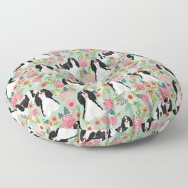 Cavalier King Charles Spaniel floral flowers dog breed pattern dogs mint Floor Pillow