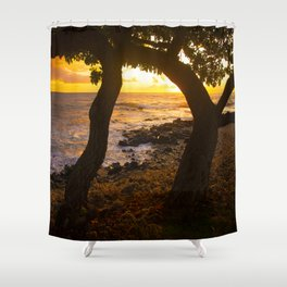 Two Trees In Tropical Paradise Sunset Shower Curtain