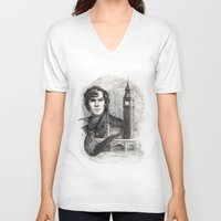 sherlock V-neck T-shirts featuring Sherlock  by RileyStark