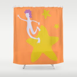 Reach for the Stars - Yellow Shower Curtain