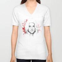 dexter V-neck T-shirts featuring DEXTER by Olechka
