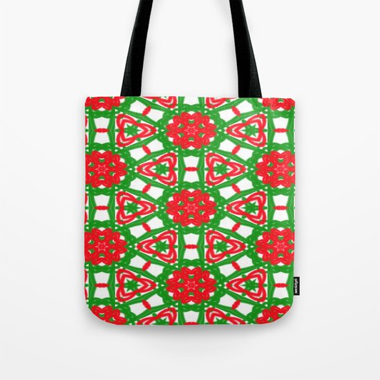 Red, Green and White Kaleidoscope 3372 Tote Bag