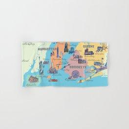 New York City Fine Art Print Retro Vintage Favorite Map with Touristic Highlights Hand & Bath Towel