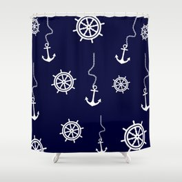 Nautical Navy Pattern with Anchors and Steering Wheels Shower Curtain