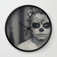 dia de los muertos Wall Clocks featuring Dia de los muertos by Brandy Coleman Ford