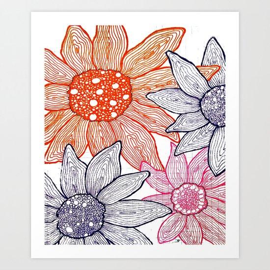 "Hand Drawn ""Daisies"" Doodle Art Print"
