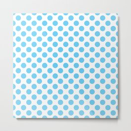 Light Blue Polka Dots Pattern Metal Print