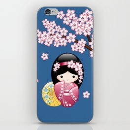 Japanese Spring Kokeshi Doll on Blue iPhone Skin