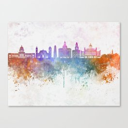Havana V2  skyline in watercolor background Canvas Print
