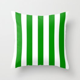 Islamic green - solid color - white vertical lines pattern Throw Pillow