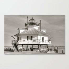 Hooper Strait Lighthouse B&W Canvas Print