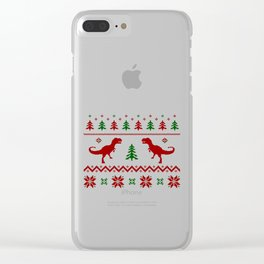 Christmas Ugly Dinosaur Sweater pattern Clear iPhone Case