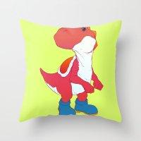 yoshi Throw Pillows featuring Yoshi Red by bloozen