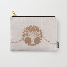 Vintage Floral Taupe Carry-All Pouch