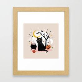 Black Cat Halloween Framed Art Print