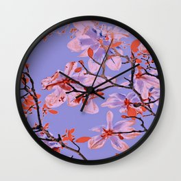 Copper Flowers on violett ground Wall Clock