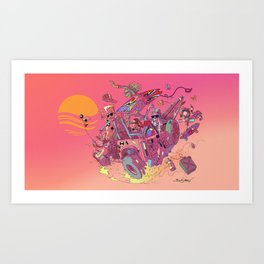 WAVEJAMMER SURFING COMPANY / BRONCO RIDERS Art Print