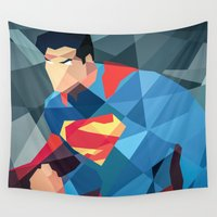 dc comics Wall Tapestries featuring DC Comics Man of Steel by Eric Dufresne