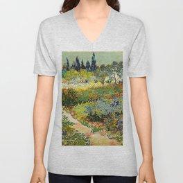 Garden at Arles by Vincent van Gogh, 1888 Unisex V-Neck