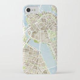 Boston Sepia Watercolor Map iPhone Case
