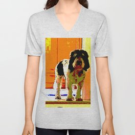 Pup on Stairs Unisex V-Neck