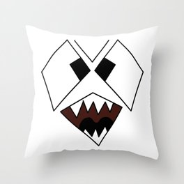Scary Snarling Angry Monster Face Graphic Illustration  print Throw Pillow