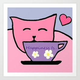 Happiness Is Cats and Tea Art Print