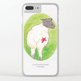 Haruki Murakami's A Wild Sheep Chase // Illustration of a Sheep with a Red Star in Watercolour Clear iPhone Case