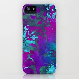 Jungle Floral Neck Gator Blue and Purple Jungle Flowers iPhone Case