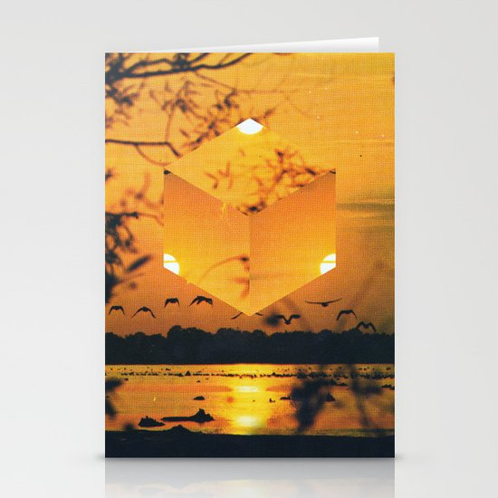 Hexagon Sunset Stationery Cards