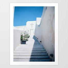 Santorini's Stairway to Heaven Art Print