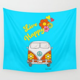 Live Happy Van Wall Tapestry