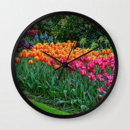 Colorful Tulips of Keukenhof After the Rain Wall Clock