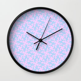 Pattern #10, blue on pink Wall Clock
