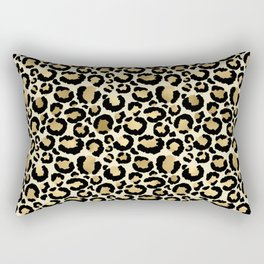 Gold Leopard Print Rectangular Pillow