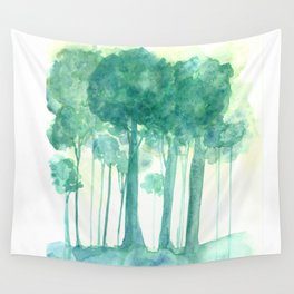 Rainy Woods Trees Forest Watercolor Painting Wall Tapestry