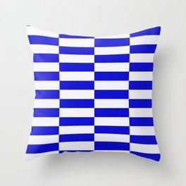 Blue And White Rectangular Checkered Pattern Throw Pillow