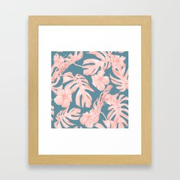 Tropical Palm Leaves and Hibiscus Pink Teal Blue Framed Art Print