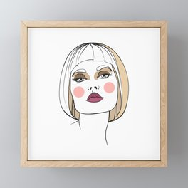 Blonde woman with makeup. Abstract face. Fashion illustration Framed Mini Art Print