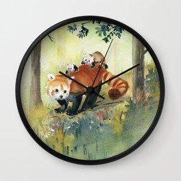 Red Panda Family Wall Clock