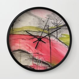 Pink Landscape. Color of Japan. Original Painting by Jodi Tomer. Abstract Artwork. Wall Clock