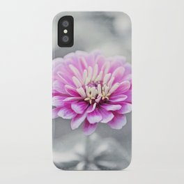 Pink Grey Flower Photography, Zinnia Floral Gray Nature Flowers iPhone Case