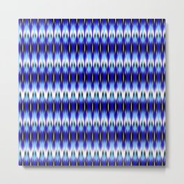 ikat small scale row in blues Metal Print