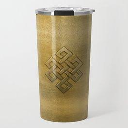 Golden Embossed Endless Knot Travel Mug