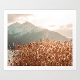 Golden Wheat Mountain // Yellow Heads of Grain Blurry Scenic Peak Art Print